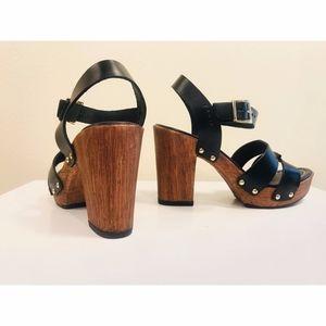 Miz Mooz Fiery Black Leather Sandal Clog Heel 37